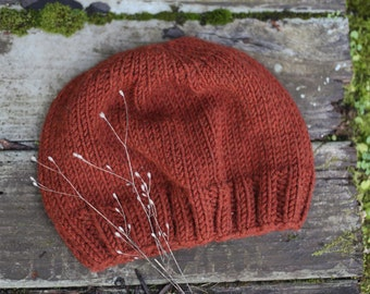 Rust Slouch Knit Beanie