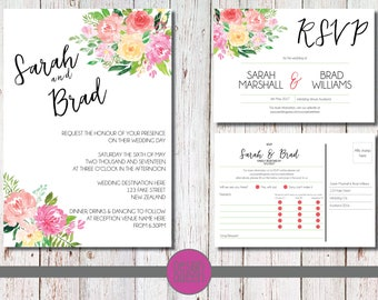 Wedding Invite and RSVP Combo - Water Colour Flowers - YOU PRINT