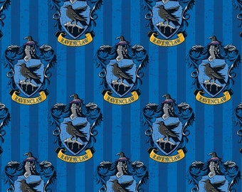 Harry Potter  Fabric / Hogwarts / Ravenclaw Blue  Digitally Printed Yardage / Camelot 2380112J / Fabric By The Yard & Fat Quarters