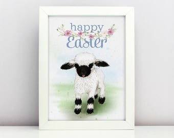 Easter Print Baby Blacknose Sheep Poster  Card Happy able Nursery Poster Adorable Baby Farm Animal Floral Wreath Spring Print