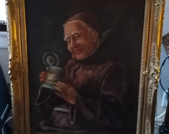 Vintage Mid Century German Oil Painting on Canvas, Portrait Painting of Monk, Signed A. Ploch