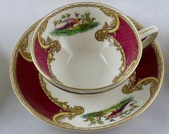 """Set of 5 Vintage 1930's Art Deco Myott Staffordshire """"Chelsea Bird"""" Red Cups and Saucers"""