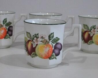 set of (4) Johnson Brothers mugs fresh fruit mugs  johnson brothers coffee mugs/cups Made in England
