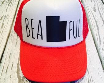 Beautahful, beautahful hat, beautiful fashion, trucker hat, snapback, adventure hat, cool hat, utah hat, utah, utah trucker hat