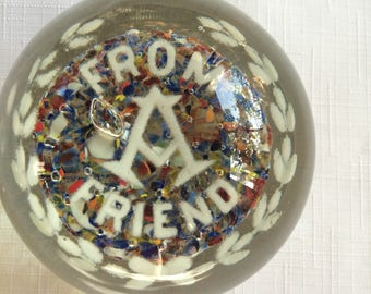 Glass Paperweight,Masonic Paperweight,Masonic Gift,Masonic Collectible,Retro Masonic,Masonic Art,Masonic Sculpture,Masonic Glass Art