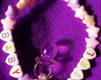 Cute pastel goth babygirl bracelet with love hearts, stars and pacifier soother dangle charm