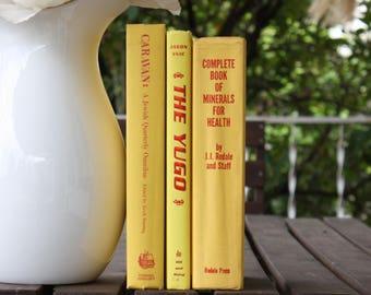 Yellow Books, Vintage Books, Decorative Books, Antique, Vintage Collection, Book Décor, Wedding Decor, Home Decor, Centerpiece, Office Décor