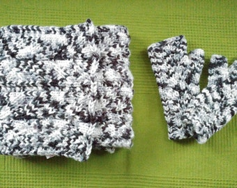 Knitted scarf and mittens duo