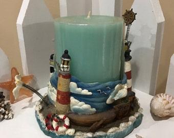 Vintage Oceanside Lighthouse Candle