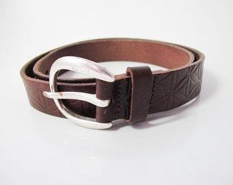 Hess Natur Vintage Women Leather Belt Medium Size Brown