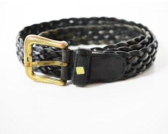 Vintage Zanelli Mens Leather Belt Black