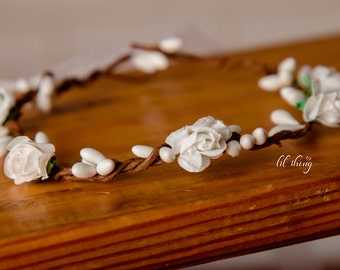 Flower crown, newborn flower crown, flower girl halo, flower headband, wedding crown, Floral halo, Flower halo Floral crown, White halo