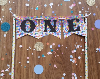 1st First Birthday Confetti ONE Cake Bunting