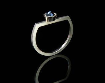 Handmade black spinel ring