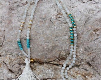 Stone of Moon and turquoise necklace