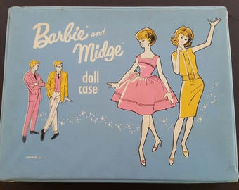 Vintage 1963 Barbie and Midge Light Blue Doll Case