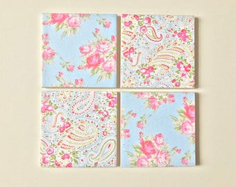 Handmade Cath Kidston Style Floral Coaster Set
