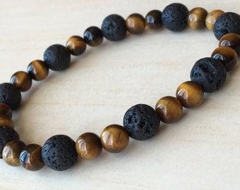 Tiger Eye Jewelry,Beaded Mala Bracelet,Brown Yoga Gift,Mens Jewelry,Boyfriend Gift,Tiger Eye Minimalist,Lava Gemstone,Meditation Bracelet