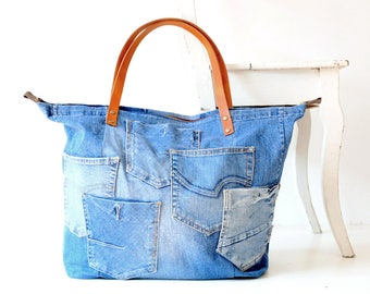 denim bag pockets with zipper and leather straps, denim bags, canvas tote bag,jeans bag, geniune leather, beach bag, large tote ,travel bag,