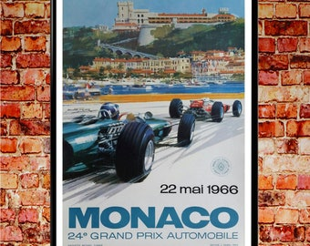Monaco F1 Poster 1966 F1 Grand Prix Wall Art Grand Prix Posters Car Racing Print Motorsport Poster (sizes up to 50cm x 70cm)