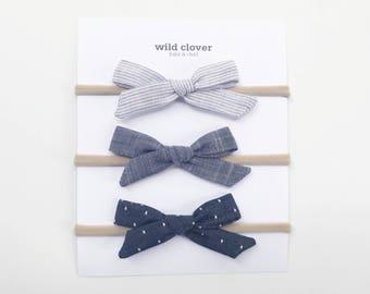 Baby Bow Three Pack, Chambray Baby Bows, Baby bows, baby headbands, baby head band, bow clip, nylon headband, baby bow headband, baby gift