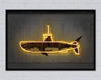 Yellow submarine shark art submarine art animal art neon art neon submarine neon sign shark print street art mixed media stencil art