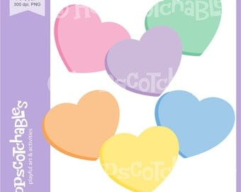 Heart Clipart, Digital Hearts, Valentine Clipart, Candy Hearts digital clipart