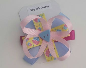 Yellow Cupcakes, Pink And Blue Ribbon, Hot Pink Bow