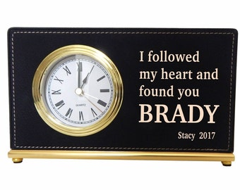 Personalized Clock Office Gift for Him, Valentine  Custom Engagement Gift, Fiance Anniversary Gift, Long Distance  Love Gift, LCH003.