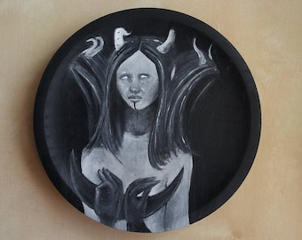 Satanic Royalty Black and White Painting Occult
