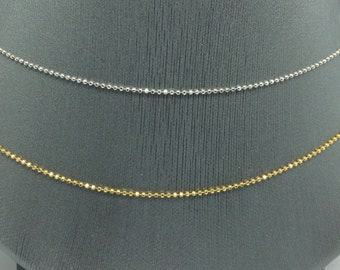 14K White Gold or Yellow Gold Diamond Cut Bead Chain