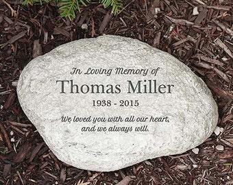 Personalized Memorial Garden Stone In Loving Memory LARGE Round Memorial Stone