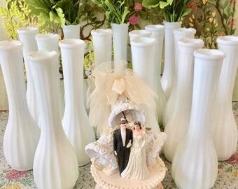 16 Milk Glass Vases Wedding Vases Centerpiece Vases for Wedding Bulk Vases Decorative Vases White Vases Bridal Shower Decorations Bud Vases
