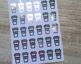 Silver Foiled Coffee Stickers - Planner Stickers