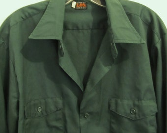 A Men's Vintage 60's,Green Long Sleeve,MECHANIC WORK Shirt By LEE.xl