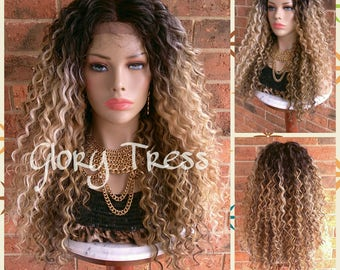 ON SALE // Long Kinky Curly Lace Front Wig, Ombre Blonde and Brown Wig, Beach Curls//GIVE ( Free Shipping )