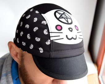 Black cycling cap with satanic cat print, Spandex cycle hat, Pentagram goat 666