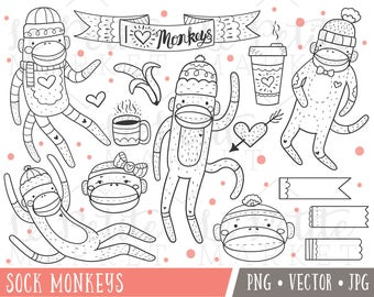 Sock Monkey Clip Art Images, Sock Monkey Clipart, Monkey Illustrations, Sock Monkey Digital Stamps, Commercial Use Clip Art