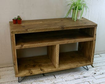 Reclaimed Wood TV or Record Player Stand Hairpin Leg. Made From Reclaimed Scaffold Boards