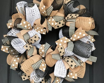 Burlap wreath - farmhouse wreath - farmhouse decor - neutral wreath - year round wreath - everyday wreath - burlap wreath for front door -