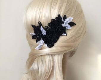 Wedding Hair Comb, Bridal Hair Accessories, Wedding Headpiece, Black and White Beaded Lace, Snap Clip, Comb