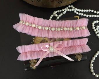 wedding garter set, pink tulle bridal garter set, bow, pearl, rhinestone, silver