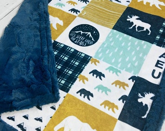 Happy Camper Baby Blanket  - Designer Faux Quilt - Poseidon Blue