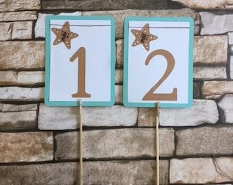 Mermaid/Starfish Color Wedding Table No.Cards, Turquiose and Brown Wedding Table No.Cards, Beach Wedding Table No.Card,