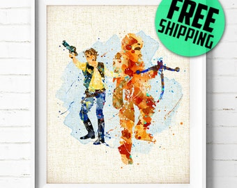 Star Wars Watercolor Print, Han Solo and Chewbacca Poster, Burlap Print, Boys Wall Art, Home Decor, Gifts, Not Framed,Buy 2 Get 1 Free! NA94
