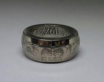 1977 Queen Elizabeth Crown Jubilee Hefty Ring  Size 11 1/2