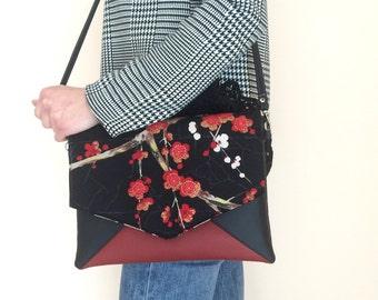 Envelope clutch bag cherry flowers, black and burgundy clutch, floral clutch purse, small crossbody bag