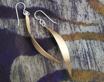 Elegantly Curved Long Brass Earrings