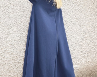 Oversize Cotton Dark Blue Turtleneck Dress, Loose Long Dress, Casual Kaftan Dress, Extravagant Dress by SSDfashion