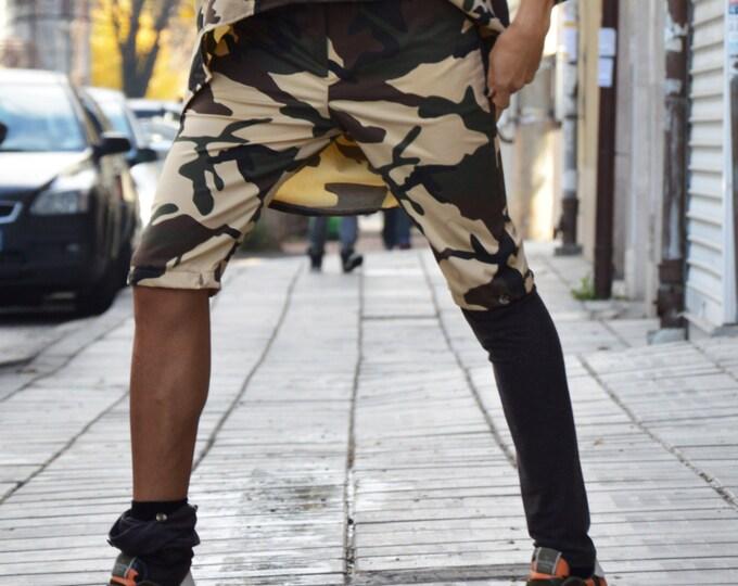 Women's Loose Cotton Pants, Casual Camouflage Harem Pants, Extravagant Drop Crotch Pants by SSDfashion